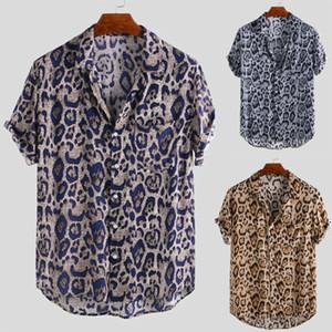 Neue Art und Weise Männer Kurzärmeliges Leopard-Druck-Shirts Männer lose reizvolle Sommer-beiläufige Turn-Down-Ausschnitt Bluse Tops Plus Size S-3XL