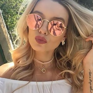 Cool Round Frame Sunglasses Women Trendy Best Pink Lens Glasses Vintage Silver Mirrored Ladies Sun Glasses