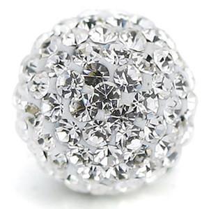 Açacağı Çek Kristal Disko Topu Kil Boncuk fit Shamballa Takı DIY Bilezik Kolye (100 adet, 10mm, Beyaz Temizle)
