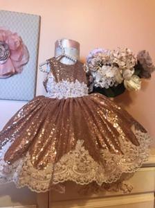 2019 lentejuelas de la vendimia de encaje de flores vestidos de niñas bebé infantil bautismo ropa con gran arco tutu vestidos de fiesta vestido de fiesta de cumpleaños