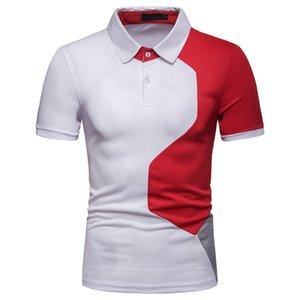 Verão Patchwork Cor Mens Polo Designer lapela pescoço curto luva frouxo shirt Roupa descontraída de luxo Mens