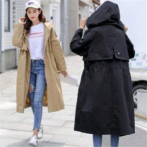 Woman's Trench Coats 2021 Windbreaker Mulheres Longa Seção Coreana Primavera Outono Com Capuz Chic Roupas Loose Casaco para Fêmea Outerwear Ropa Muje