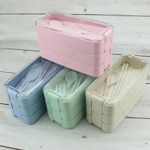 New drei Schichten Lunch Box Set Japanisches Microwavable Weizenstroh Lunch Boxes Tragbarer Nahrungsmittelbehälter für Kinder Schule Abendessen Box