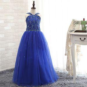 Pageant robes de fille de fleur de tulle bleu vif perles robes de fille de fleur de vacances / jupe d'anniversaire princesse jupe personnalisée SZ 2-14 F102047