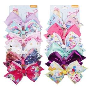 Regenbogen Einhorn Haarschleifen Zubehör JOJO SIWA 5,6 Zoll große Haarspangen mit Karte Pailletten Logo Baby Mädchen Kinder Mode Haarspangen für Kinder