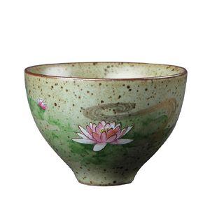 Traditional Vintage Tea Bowl Accessories High Quality Lotus Tea Cup Retro Style Handpainted Ceramic Teacup Porcelain Drinkware