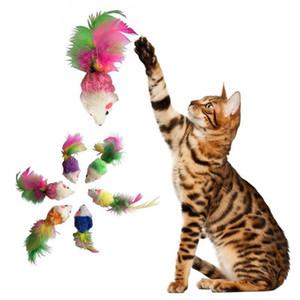 6pcs Katzenspielzeug Fleece Falsche Maus Spielzeug für Katzen-Kätzchen-Feder Lustige Spiele Haustier Hund Katze Kleintiere Spielzeug Katzen Produkte