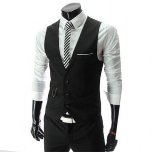 GAUCHE ROM 2019 hommes élégants tombent slim fit costume d'affaires haut de gamme gilet / gilet en coton de loisirs v-cou / robe de marié noir formel