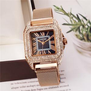 Yapay elmas 32mm kare kuvars çelik bant Romen rakamları lüks kadın tasarımcı izle doğrudan posta bayanlar altın saat hediye bayanlar izle