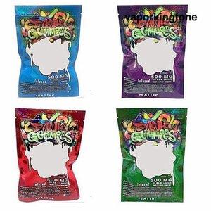 Dank Gummies Bolsa Edibles bolsas de embalaje Worms 500MG Edibles osos de gominola Cubos bolsos al por mayor