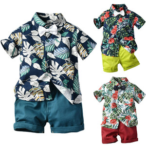 UK Bebek Çocuk Erkek Bebek 1T-7T Giyim Kıyafetler Set Beach Yapraklar Gömlek Şort Pantolon Tops