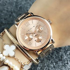 Marque de mode montre-bracelet pour fille 3 bandes en métal de style acier Cadrans de quartz montres pour femmes 12
