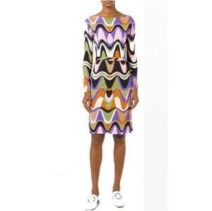 Newest Fashion epucci 2020 Designer Dress Women's Long Sleeve Colorful Geometric Print Stretch Jersey Silk belt Day Dress