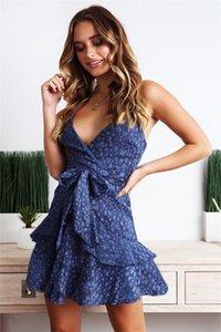 Una línea sin mangas de la flora Impreso Sexy vestidos del lápiz correa de espagueti para mujer sin respaldo vestidos de verano de la manera vestidos de las señoras