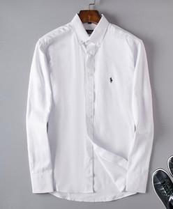 Оптовая 2019 Новый Бренд Весна Осень Повседневная С Длинным Рукавом Мужчины Рубашка Высокого Качества Хлопок Формальные Бизнес Плед Мужские Рубашки Плюс #6805