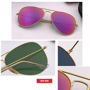 2019 nueva venta caliente del verano de aviación espejo gafas de sol mujeres de los hombres de la vendimia Diseño Gafas de sol UV400 gafas masculino marca 55mm 58mm 62mm