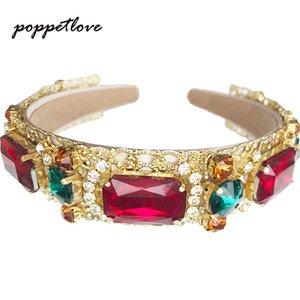 Europea manera barroca de la vendimia completa de joyería diadema Rhinestone cristalino colorido Hairbands Hojas del oro perla de la corona de pelo