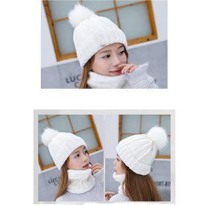 Donne Knit Beanie Hat Cap Chunky con Faux Fur And Neck coperchio Pompon Inverno caldo molle Ski Cap HH9-2510