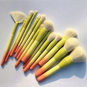 Pro Gradient Renk 14pcs Makyaj Fırçalar Seti Yumuşak Kozmetik Harmanlama Vakfı Göz Farı Allık Fırçası Seti Araçları Makyaj