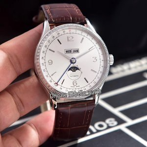New Patrimônio Big Data U0112538 Branco Dial Fase automática Lua 0.112.538 Mens Watch Bezel Diamond Leather Strap Gents Relógios de luxo 3 cores.