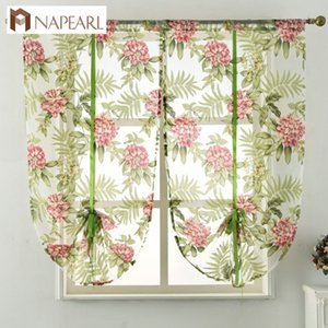 NAPEARL 1 PC Kitchen Curtain Sheer Organza Fabric Green Short Curtain Door Window Treatment Home Living Room Bedroom Rod Pocket