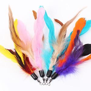 Multi Color Cat juguetes de aves de plumas de plástico varita plástico DIY Catstoys piezas Cat Suministros 18cm venta caliente 1 07ttE1