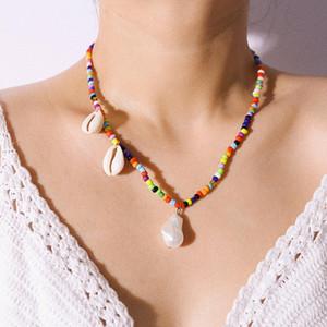 Красочные Бусы Колье для Женщин Модные Чешские Летние Шикарный Нагрудник Колье Femme Cowrie Shell Ожерелье