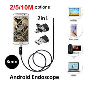 ALK 1pc HD 2MP 6 LED 8mm Len Android Endoscopio USB IP67 Inspección impermeable Borescope Tube Camera OTG Android Phone 2 en 1