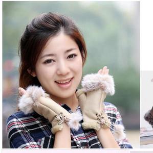 Vente en gros - Belle lapin Gants de fourrure d'hiver Fingerless demi-doigts Mmulti couleur de Lady Glove Livraison gratuite
