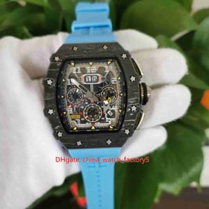 Articoli molto Top Guarda 50mm x 40mm RM11-03 RM 11-03 Flyback scheletro bande blu di gomma degli uomini automatici Mens di orologi di qualità