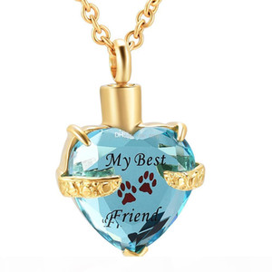 Crystal heart stainless steel Cremation Urn Necklace Pendant Ash Holder Mini Keepsake Memorial Jewelry for women girl