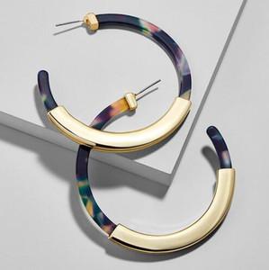 Pendientes de aro de acetato de acrílico de Bohemia de moda para mujer Vintage Leopard Print Circle Hoops Pendiente de aleación za joyería Mujer GB710