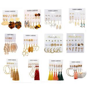 Tassel Shell Dangle Earrings Set 80 PAIR SET Vacation Style Stud Hoop Earrings for Women Fashion Jewelry