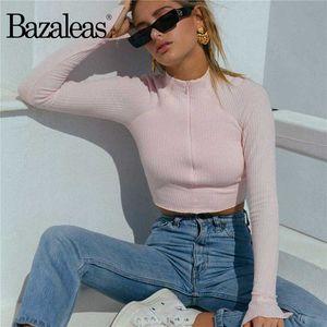 Bazaleas Moda Merkezi Fermuar Kadınlar çekme femme Streetwear Turtleneck Örme Hırka harajuku Vintage Pembe kazak kadınlar