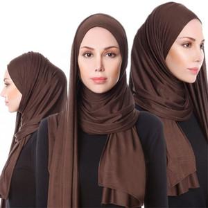 2019 Женщин Упругого Джерси шарф хиджаб Твердых дышащая Мусульманская Одежда Тюрбан Femme шаль и палантины ислам арабских платки