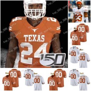 Personalizzato Texas Longhorns 2020 di calcio qualsiasi nome Numero Arancione Bianco 11 Ehlinger 7 Sterns 9 Collin Johnson Giovane Sugar Bowl NCAA 150 ° Jersey