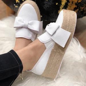 Pisos Pisos alpargatas Mujeres inferior grueso 2019 nuevos zapatos de otoño Resbalón casual de las señoras de la lona arco ShoeLazy Holgazanes Mujer