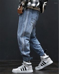 Cargo Pants With Pockets High Street Loose Light Blue Mens Jeans Fashion Long Mens