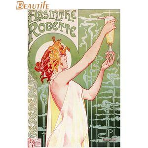 Горячая распродажа на заказ абсент плакат арт-нуво плакат украшения дома мода шелковые ткани на заказ
