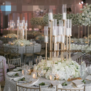 Fondo de boda Stick 12 Heads Candelabra Boda Aisle Decoración Gold Tall Them Thuft Center Spieces para stands de boda SENYU0463