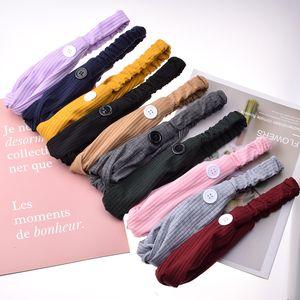 Sport Masque Bandeaux avec bouton en tricot solide Yoga oreille Gym Protect Bandeaux Couleur des cheveux bande pour les femmes Accessoires 1 8Fb Hairs E19