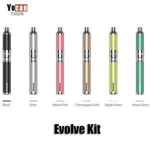 Authentic Yocan Evolve Starter Kit Purple wax pen Vaporizer with 0.8ohm Quartz Dual Coil 650mAh Battery ego thread atomizer Original