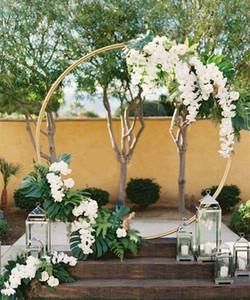 cercle toiles de fond de mariage rideau de plafond décoration de scène de pendaison anneau de fer pour Arch Jardinière Support métallique stand floral cercle creux