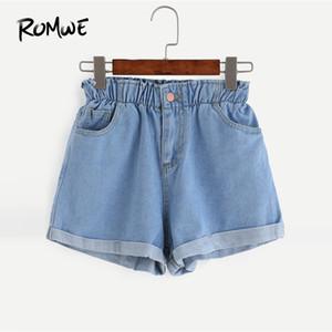 Romwe Elastische Taille Rollsaum Denim Shorts 2019 Frauen Sommer Blau Weibliche Koreanische Shorts Gerades Bein Hohe Taille Tasche Shorts Y19050905