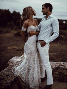 Vintage Crochet Lace Sereia Vestidos De Noiva 2019 Off Should Algodão Applique Trompete Beach Bohemian País Burnos Rue de Seine