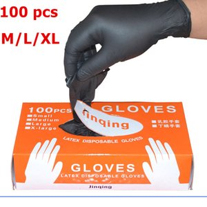 100pcs / lot Mechaniker Handschuhe Handschuhe aus Nitril Haushaltsreinigung Waschen Schwarz Labor Nail Art Anti-Statik-Handschuhe Großhandel