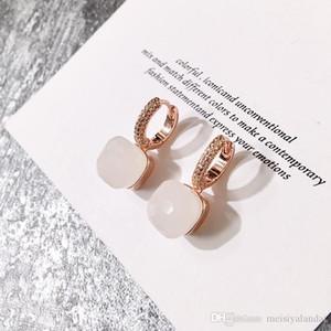 joyería del diseñador mujeres pendientes de aro de color de la piedra del color caliente micro incrustaciones de piedra cuadrada dulces pendientes pendientes de cristal de diamante
