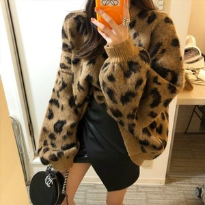 Sexy leopard knitted winter pullover sweater female Autumn o neck long sleeve women jumper Casual plus size streetwear