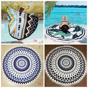 Atacado Toalha Redonda Praia Mandala Tassel Tapestry poliéster Yoga Mat Impresso Mulheres Xaile pano de tabela do piquenique tapetes 35 Designs DBC BH2992