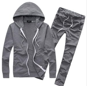 Pure Color Casual 2 Piece Set Men Survêtements Automne Vêtements de sport Sweats à capuche + Pantalons Hommes Sporting Suits Jolie